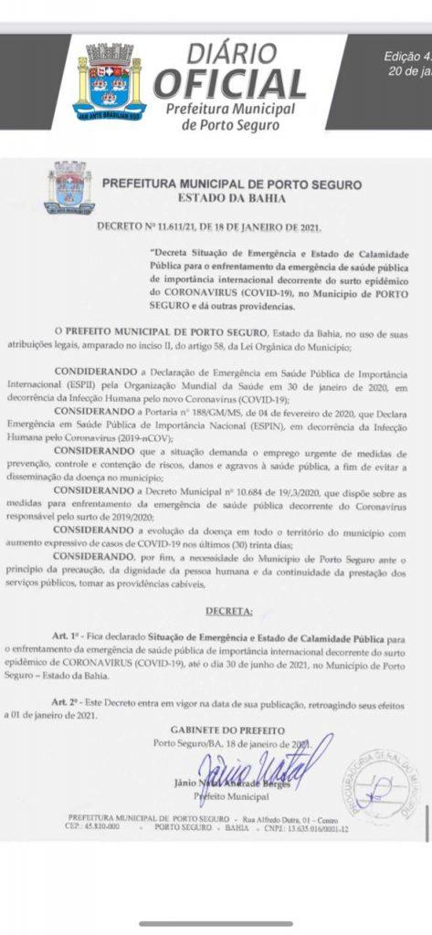 Prefeito decreta Situação de Emergência e Estado de Calamidade Pública devido ao surto de Covid em Porto Seguro 27