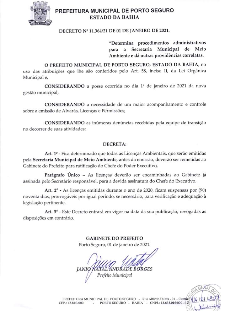 Prefeito determina novos procedimentos e suspende, por 90 dias, alvarás, licenças ambientais e permissões liberadas em 2020, em Porto Seguro 26