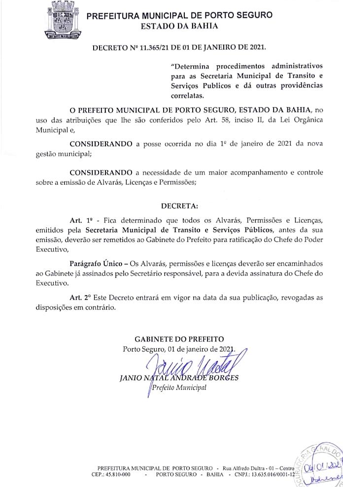 Prefeito determina novos procedimentos e suspende, por 90 dias, alvarás, licenças ambientais e permissões liberadas em 2020, em Porto Seguro 27