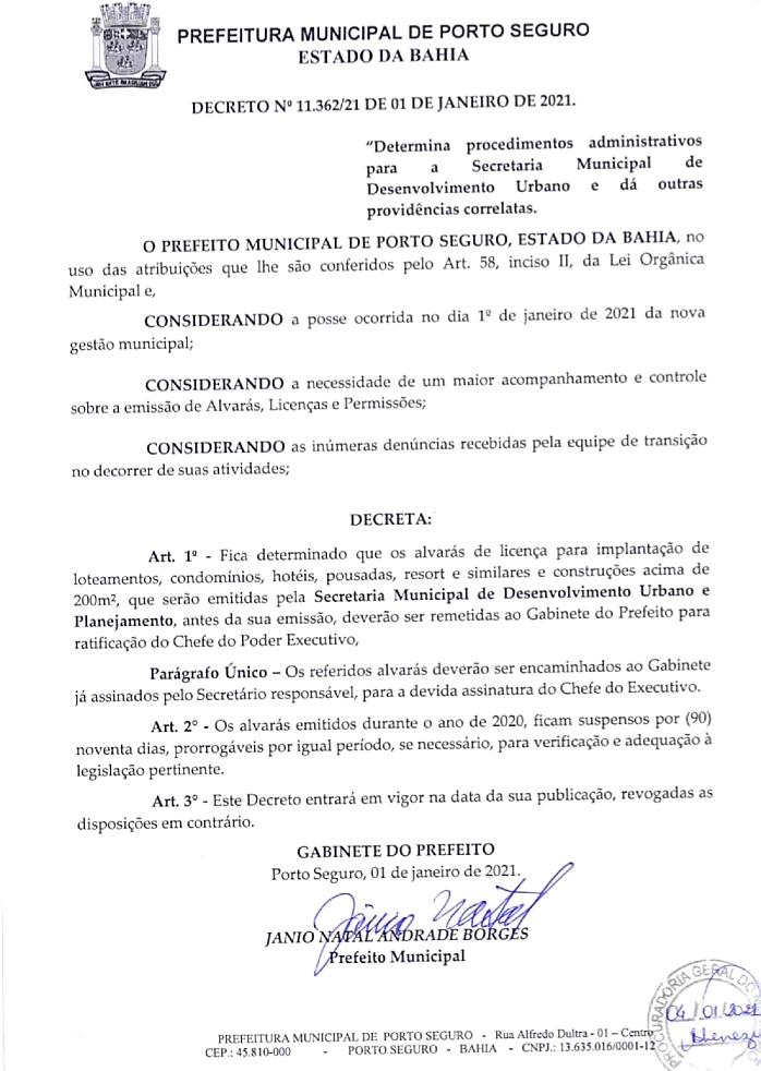 Prefeito determina novos procedimentos e suspende, por 90 dias, alvarás, licenças ambientais e permissões liberadas em 2020, em Porto Seguro 25