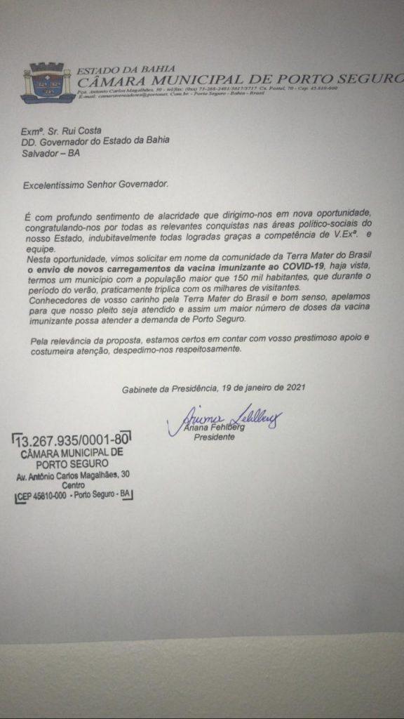 Presidente da Câmara, Ariana Prates solicita ao governador Rui Costa mais envios de doses da vacina contra a Covid -19 21