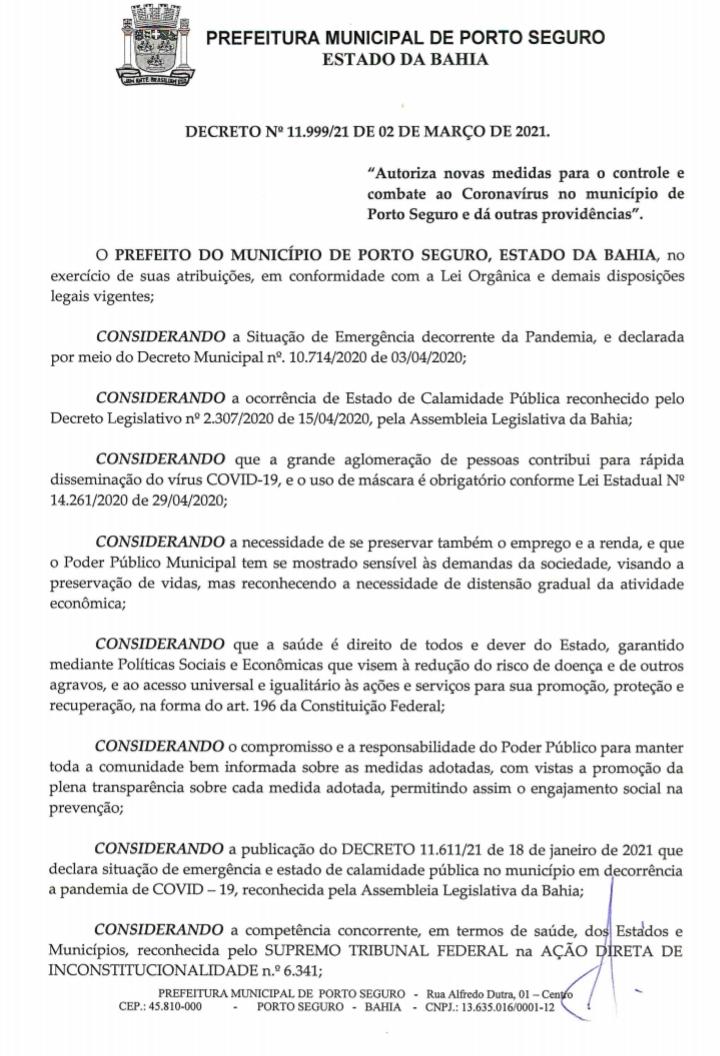 Jânio libera comércio das 5:01 às 20:00 horas, em Porto Seguro, de acordo decreto municipal. 25