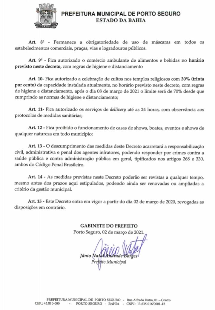 Jânio libera comércio das 5:01 às 20:00 horas, em Porto Seguro, de acordo decreto municipal. 27