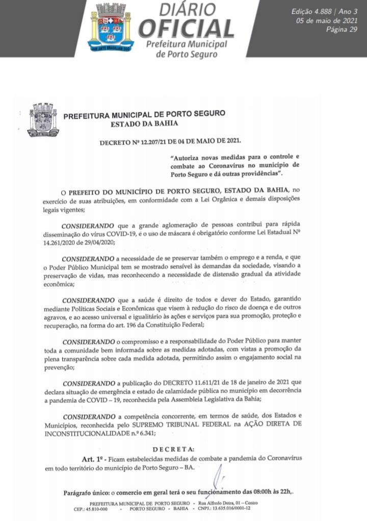 Jânio edita decreto que restabelece o horário comercial (8:00h às 22h) e autoriza o comércio ambulante de bebidas e alimentos em Porto Seguro 23