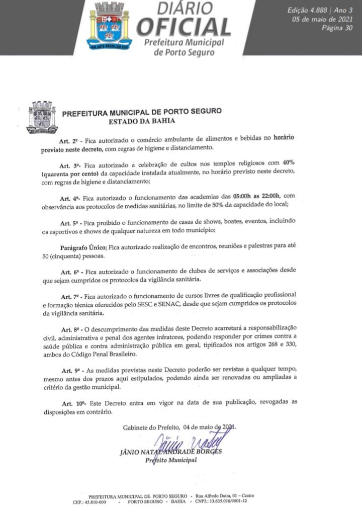 Jânio edita decreto que restabelece o horário comercial (8:00h às 22h) e autoriza o comércio ambulante de bebidas e alimentos em Porto Seguro 24